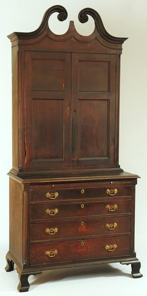 A Shenandoah Valley, Va., Bookcase On Bureau In Original Surface Was