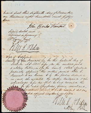 Archive of deeds, indentures, tax levies, abstracts of title and other documents relating to the Rancho San Emidio on present Kern County, Calif., including a deed of sale signed by part-owner John C. Fremont. Estimate: $5,000-$8,000. PBA Galleries image.Archive of deeds, indentures, tax levies, abstracts of title and other documents relating to the Rancho San Emidio on present Kern County, Calif., including a deed of sale signed by part-owner John C. Fremont. Estimate: $5,000-$8,000. PBA Galleries image.