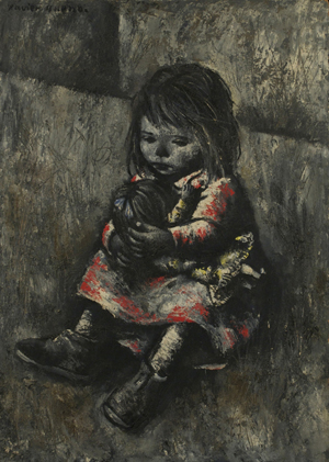 Xavier Bueno (1915-1979) 'The Girl and the Doll,' oil on board. Gray's Auctioneers image.