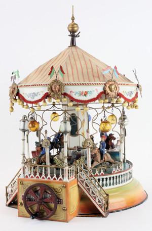 Exquisitely detailed circa-1910 Marklin Carrousel, German, est. $75,000-$100,000. Noel Barrett Auctions image.