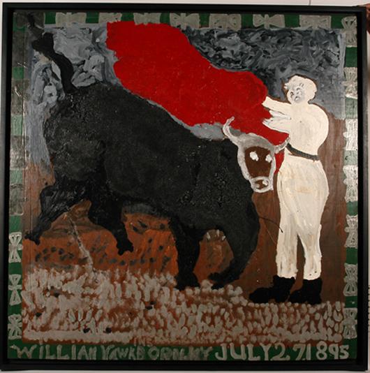 William Hawkins, 'Charging Bull With Matador.' Estimate: $30,000-$40,000. Slotin Auction image.