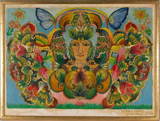Minnie Evans, 'Lady With Flowers,' 1967. Estimate: $4,000-$6,000. Slotin Auction image.