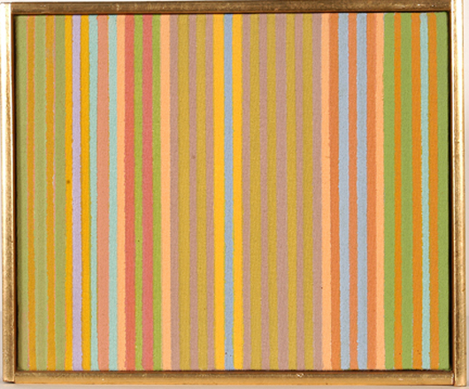 Gene Davis, 'Cornflakes,' 1958, signed, dated and titled, oil on canvas. Estimate: $3,000-$5,000. Slotin Auction image.