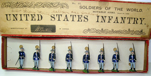 Britains Set # 91, pre-WWI, United States Infantry at Slope. Est. $3,000-$5,000. Old Toy Soldier Auctions image.