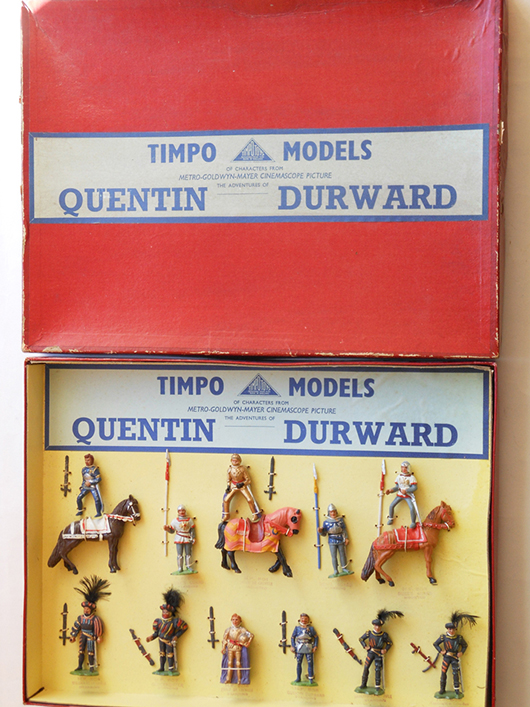 Timpo circa-1955 Quentin Durward display set, 11 pieces. Est. $5,000-6,000. Old Toy Soldier Auctions image.