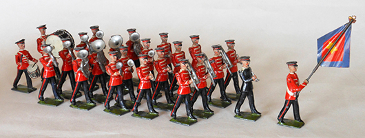 Britains 24-piece pre-WWII #1317 Salvation Army Band and Flag Bearer. Est. $4,000-$6,000. Old Toy Soldier Auctions image.