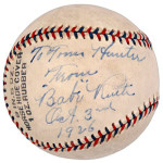Example of a valuable autographed baseball, signed by the immortal Babe Ruth on Oct. 3, 1926, which was Day 2 of that year's World Series. This ball is shown for illustrative purposes only and has no connection to the court case mentioned in the article. Image courtesy of LiveAuctioneers.com and Robert Edward Auctions.