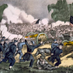 The Battle of Gettysburg, Pa., July 3, 1863, hand-colored lithograph by Currier and Ives. US Library of Congress image.