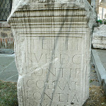 An ancient gravestone from the 4th century BC Roman colony of Ratiaria carries an inscription about Tettius Rufus, a decurion [Roman cavalry officer] and pontiff. The gravestone is held in the collection of the National Archaeological Institute and Museum in Sofia, Bulgaria. Image by Vassia Atanassova, Spiritia, licensed under the Creative Commons Attribution-Share Alike 3.0 Unported, 2.5 Generic, 2.0 Generic and 1.0 Generic licenses.
