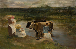 Louis Comfort Tiffany (American 1848-1933) Family Group with Oxen Oil on board 22 ¾ inches x 35 1/8 inches c. 1888 unsigned Provenance: Artist's family, thence by descent; The Garden Museum Collection, Matsue, Japan