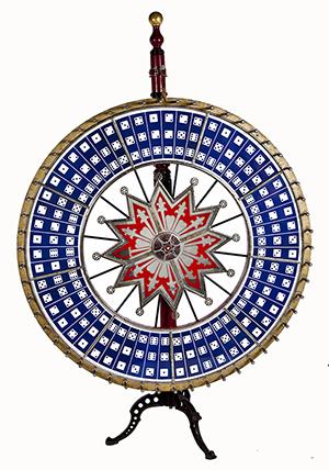 Vintage 89-inch H.C. Evans jumbo dice wheel. Estimate $2,000-$3,000. Cordier Auctions & Appraisals.
