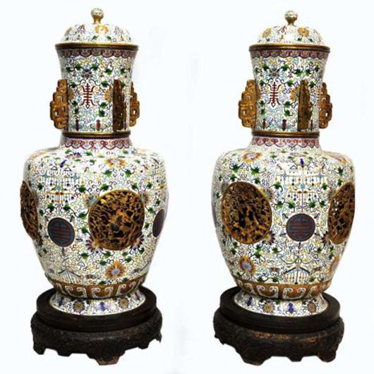 Chinese cloisonne enamel gilt palace urns. Austin Auction Gallery image.