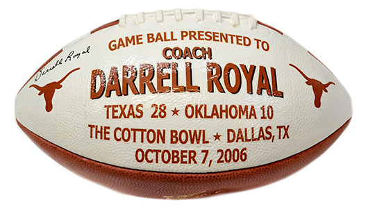 Signed Cotton Bowl game ball presented to Darrel Royal. Austin Auction Gallery image.