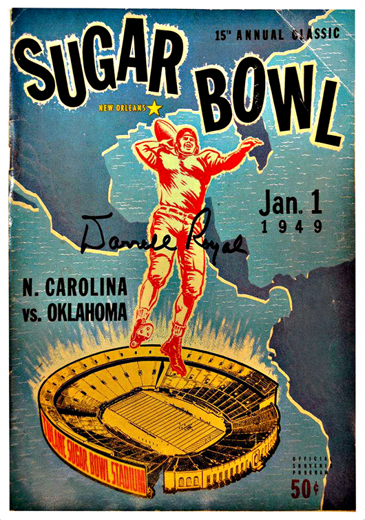 Autographed 15th annual Classic Sugar Bowl program, Jan. 1, 1949, North Carolina vs. Oklahoma, signed by Darrell Royal, Oklahoma coaching staff and 40 players. Austin Auction Gallery image.