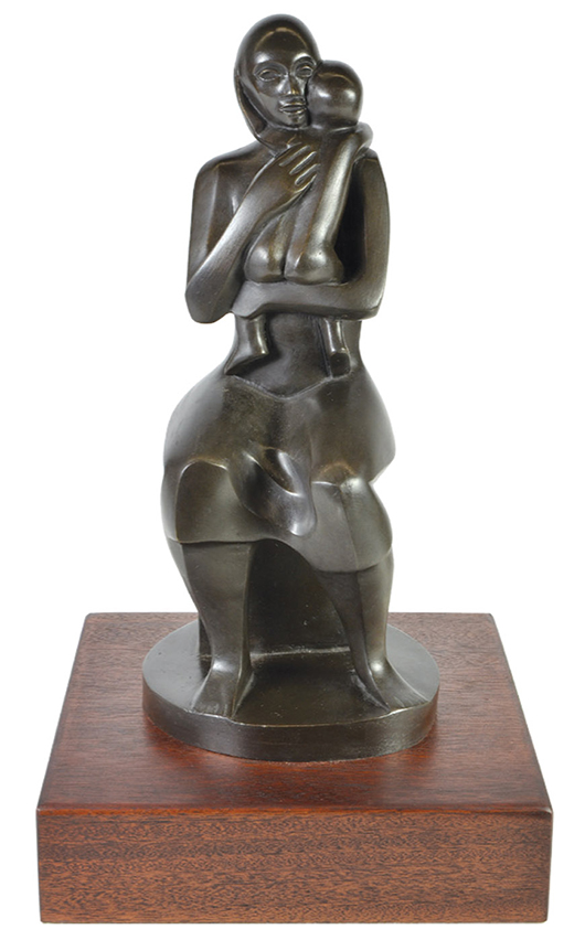 For the fourth time in less than a year, Clars will be offering another powerful work by sculptress Elizabeth Catlett (1915-2012). This work, titled 'Mother and Child,' is estimated to earn $8,000 to $12,000. Clars Auction Gallery image.