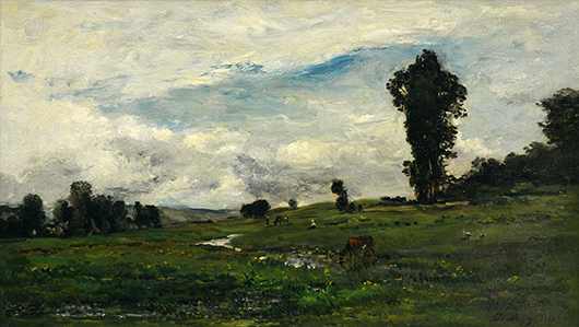 This large bucolic oil on panel titled 'Figures and Cows in a Country Landscape,' 1874, by Charles Daubigny (1817-1878) will be available for $40,000 to $60,000. Clars Auction Gallery image.