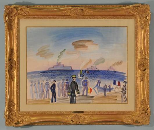 Raoul Dufy's 'Les Marins a Toulon.' Estimate: $50,000-$60,000. Lewis & Maese Antiques and Auctions image.