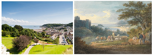 William Payne's Swansea Bay from near Oystermouth Castle (right), painted in the late 18th century, and the same scene today. Among a series of works by Payne to be shown at the BADA Fair loan exhibition from March 13 to 19. Image courtesy British Antiques Dealers' Association.