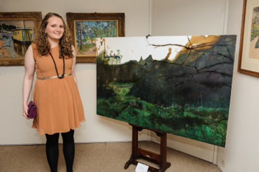 Morag Donkin, first winner of the Fleming-Wyfold Award, with 'Redhall House 1,' her oil and ink on canvas view of a disused children's home in Scotland. Image courtesy of the Fleming-Wyfold Art Foundation.