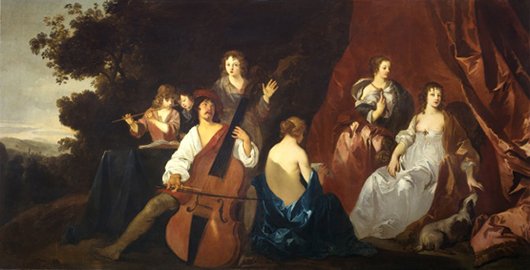 Peter Lely (1618-80), 'The Concert,' c. 1650. Oil on canvas, included in 'Peter Lely: A Lyrical Vision' at the Courtauld Gallery, London, until Jan. 13. Image courtesy the Courtauld Gallery.