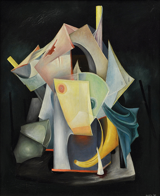 Estimated at $20,000 to $40,000 is this rare Surrealist painting titled 'Vagaries of War' by French artist Henri Bernard Goetz (1909-1989). Clars Auction Gallery image.