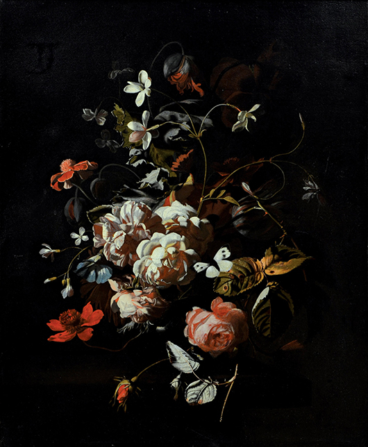 This monumental old master by Dutch still life artist Simon Pietersz Verelst (1644- 1721) titled 'Roses, tulips, carnations, a butterfly and other flowers in a vase on a table,' is being offered for $25,000 to $35,000. Clars Auction Gallery image.