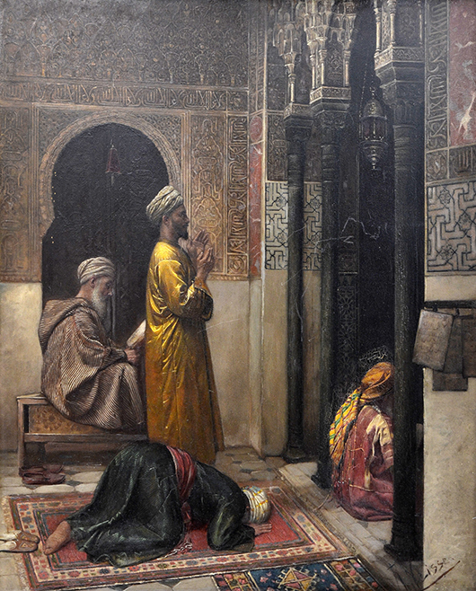 Among the key offerings from the late 19th and early 20th centuries is this striking Orientalist painting titled 'A Moment of Prayer' by Swiss painter Rudolf Johann Weisse (1846-1933), which will be offered for $40,000 to $60,000. Clars Auction Gallery image.