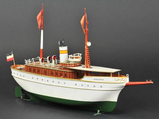 "Marklin ""Jolanda"" clockwork luxury yacht with canopy over bow, circa 1915-1925, 16 inches long, est. $25,000-$27,000. Bertoia Auctions image."