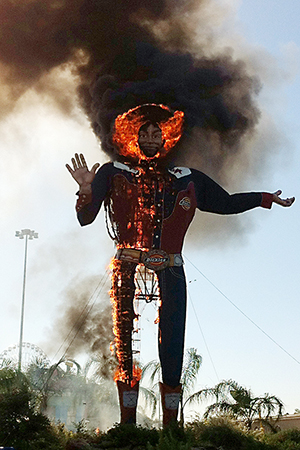 Big Tex, an icon at the State Fair of Texas since the early 1950s, burned on Oct. 19. Image by Christian Bradford. This file is licensed under the Creative Commons Attribution 2.0 Generic license.