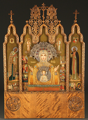 This important Imperial Russian icon triptych, Faberge and signed N. Emelianov, circa 1912 will be offered at Jackson's Nov. 13-14 auction. Jackson's International image.