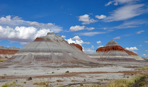 The Tepees in Petrified Forest National Park in northeastern Arizona. According to a National Park Service (NPS) document, rock strata exposed in the Tepees area of the park belong to the Blue Mesa Member of the Chinle Formation and are about 220 to 225 million years old. The colorful bands of mudstone and sandstone were laid down during the Triassic, when the area was part of a huge tropical floodplain. Oct. 4, 2010 photo by Finetooth, licensed under the Creative Commons Attribution-Share Alike 3.0 Unported license.