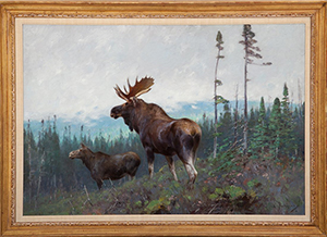 Carl C.M. Rungius (German/American, 1869-1959),'Moose on a Ridge,' oil on canvas, sold by Copley Fine Art Auctions to a LiveAuctioneers.com bidder for $188,800. Image courtesy of Copley Fine Art Auctions and LiveAuctioneers.com Archive.