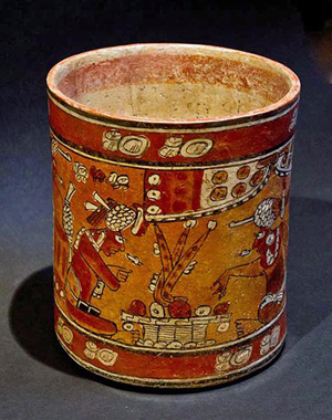 Mayan polychrome cylinder, Kerr Rollout 8277, Mayan Territories, Mexico, circa 600-900 AD. Estimate $15,000-$20,000. Image courtesy Antiquities-Saleroom.com.
