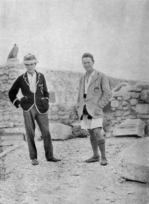 Archaeologist C. Leonard Woolley (left) and T.E. Lawrence at the excavations at Karkemish, Syria, circa 1912-1914. Image from 'Dead Towns and Living Men' (London: Milford, 1920). Sourced from Wikimedia Commons.