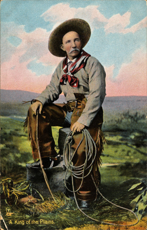 The American cowboy, 'King of the Plains,' as depicted on an early 1900s postcard published by Raphael Tuck & Sons.