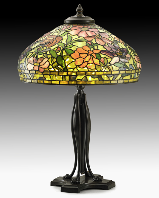 A 1920s table lamp with colorful peony shade was an excellent buy for $45,000 at last June's Rago auction. Courtesy Rago Auctions