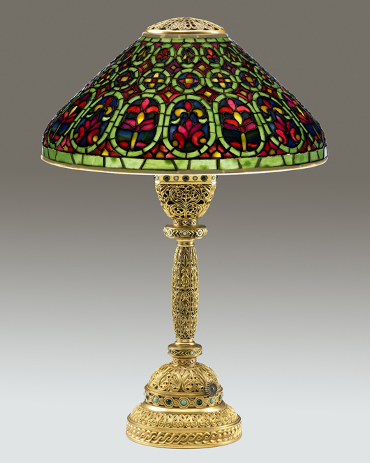 A more-ornate table lamp featuring a jeweled Venetian shade and elaborate base more than doubled its estimate to bring $81,000 at Rago's in 2009. Courtesy Rago Auctions