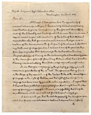 Adams, John Quincy (1767-1848) autograph letter signed, 20 April 1837. Estimate: $80,000-$120,000. Skinner Inc. image.