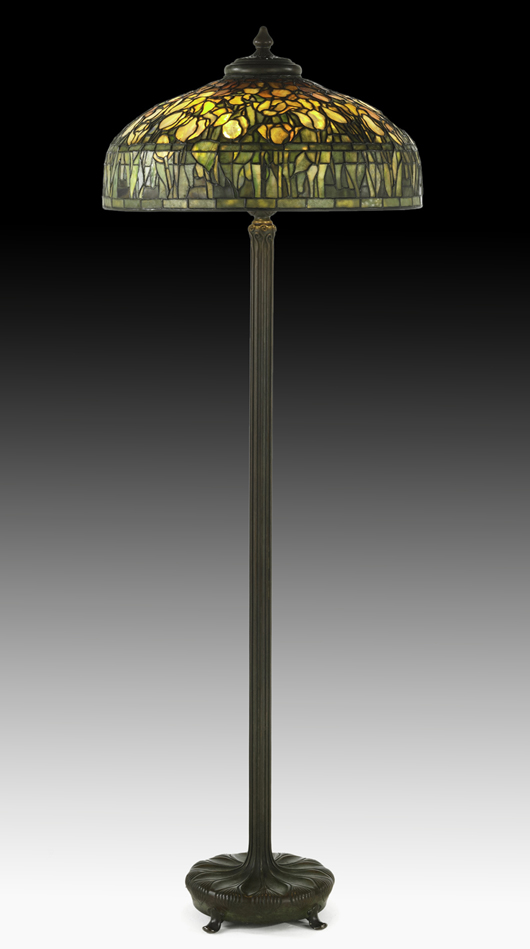 Rarer than table lamps, this Tiffany floor model with a shade of overlapping tulips brought $137,500 at Rago's in June 2012. Courtesy Rago Auctions