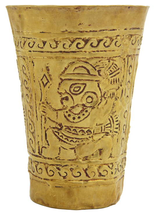 Rare17K yellow gold Chimu Kero (ceremonial cup), probably made in Peru around 1,000 A.D. Crescent City Auction Gallery image.