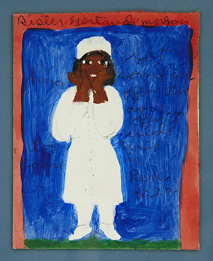 Oil on board by folk art legend Sister Gertrude Morgan (1900-1980), titled 'Let Him Come In.' Crescent City Auction Gallery image.