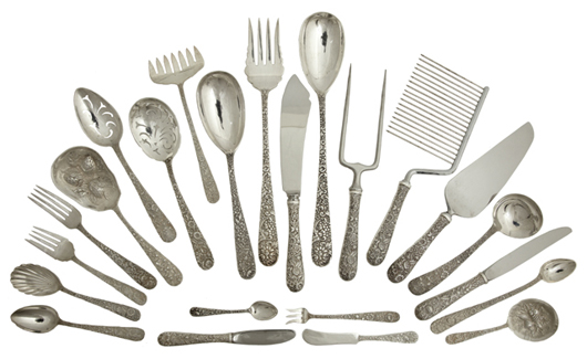 Sterling silver will include a 197-piece set of Kirk & Son flatware in the Floral Repousse pattern. Crescent City Auction Gallery image.