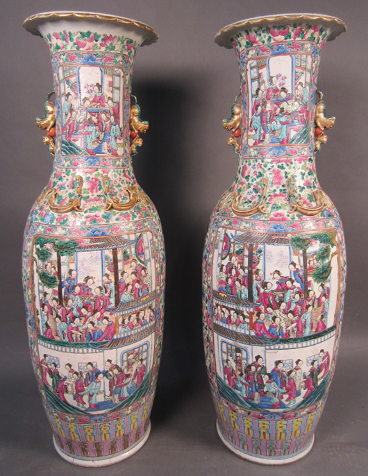 Pair of monumental Chinese famille rose palace urns, 19th century. Height: 54 inches. Width: 16 inches. Sterling Associates image.