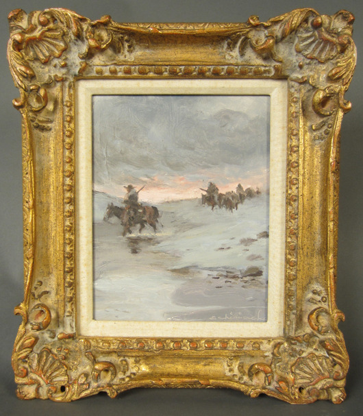 Ernest Chiriacka (American, 1920-2010), riders on horseback in a snowy landscape, oil on board, signed 'E. Chiriacka.' Size: 9 1/2 by 7 1/2 inches. Sterling Associates image.