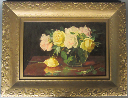 Jonas Joseph LaValley (American, 1858-1930), floral still life, oil on canvas, signed 'J. J. LaValley.' Size: 13 3/4 by 20 3/4 inches (sight). Sterling Associates image.