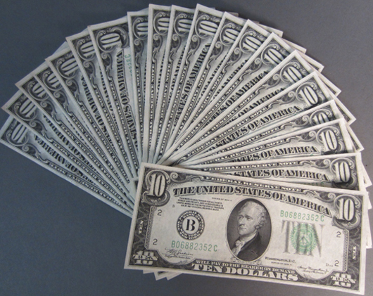17 lots of 1934A $10 Federal Reserve non-circulated notes; with exception of one lot, all are consecutive numbers. Sterling Associates image.