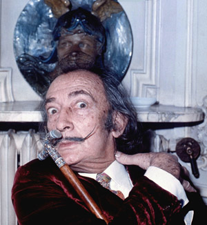 Salvador Dali in 1972. Allan Warren image.This file is licensed under the Creative Commons Attribution-Share Alike 3.0 Unported license.
