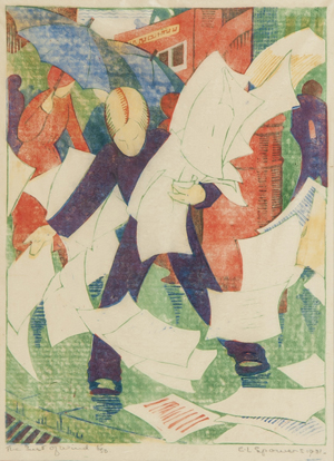 Ethel Spowers (1890-1947), A Gust of Wind (c.ES.15), linocut printed in colors, 1930-31, a richly inked, early impression, signed in pencil, numbered 5/30, on tissue thin Japan paper, with full margins, 218 x 164mm (8 1/2 x 6 1/2 in). Est. £40,000-£60,000. Bloomsbury's image.