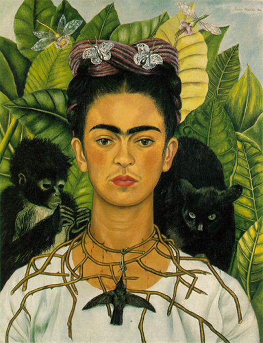 Frida Kahlo, 'Self-portrait with Thorn Necklace and Hummingbird,' Nikolas Muray Collection, Harry Ransom Center, the University of Texas. Accessed through Wikimedia Commons.