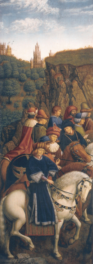 The stolen panel known as 'The Just Judges' was replaced by an identical scene painted by artist Jef Vanderveken. Image courtesy Wikimedia Commons.